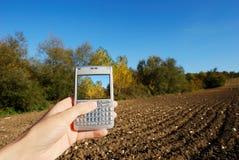 秋天移动电话横向 免版税库存照片