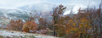 秋天第一个山雪冬天 库存照片