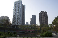 秋天红色谷公园住宅公寓台中台湾 图库摄影