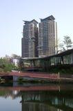 秋天红色谷公园住宅公寓台中台湾 库存照片