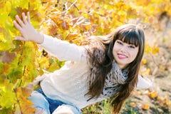 秋天纵向妇女年轻人 库存图片