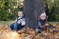 秋天纵向逗人喜爱矮小的对白种人夫妇 免版税库存照片