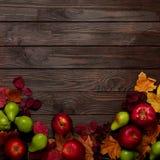 秋天绯红色和黄色叶子、梨和ap平的位置框架  免版税图库摄影