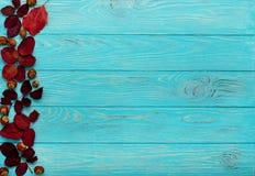 秋天绯红色平的位置框架在木离开和核桃 免版税图库摄影