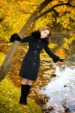 秋天美丽的公园妇女年轻人 免版税图库摄影