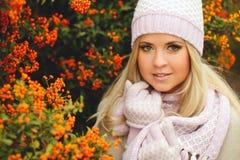 秋天美丽的公园妇女 库存照片