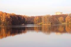 秋天美丽的公园 秋天在米斯克 秋叶结构树 秋天横向 公园在秋天 树的镜象反射在wa的 免版税库存照片