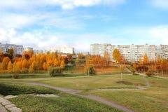 秋天美丽的公园 秋天在米斯克 秋叶结构树 秋天横向 公园在秋天 森林在秋天 库存图片