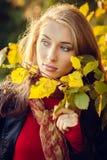 秋天美丽的女孩 库存图片