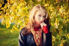 秋天美丽的女孩 免版税库存图片