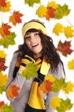 秋天美丽的妇女 免版税库存图片