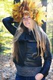 秋天美丽的妇女 库存照片
