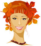 秋天美丽的妇女 皇族释放例证