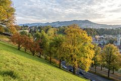 秋天美丽的景色伯尔尼 免版税库存照片