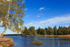 秋天美好的横向 Vyborg 库存照片