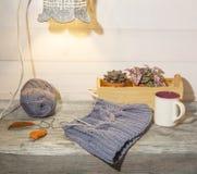 秋天背景、羊毛手套、五颜六色的叶子、多汁植物、咖啡在葡萄酒木桌上的和减速火箭的灯 免版税库存图片
