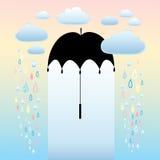 秋天背景伞和雨 库存照片