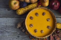 秋天背景特写镜头上色常春藤叶子橙红 感恩的自创南瓜饼 免版税库存图片