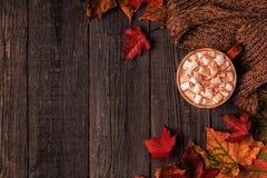 秋天背景用热巧克力,被编织的围巾,多色 库存图片