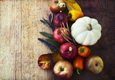 秋天背景用水果和蔬菜 免版税库存照片