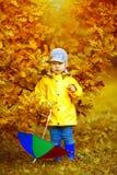 秋天背景的小男孩  有彩虹伞的公园我 免版税库存图片