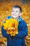 秋天背景的愉快的男孩生叶 免版税库存照片