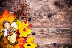 秋天背景,五颜六色的树叶子 库存图片