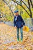 秋天自然的漂亮的孩子男孩 免版税图库摄影