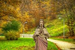 秋天自然背景的耶稣  库存图片