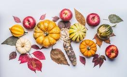 秋天舱内甲板被放置的组成用南瓜、苹果和秋天叶子 免版税库存图片