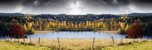 秋天色的风景、湖和森林 库存图片