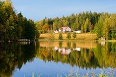 秋天芬兰湖 图库摄影