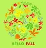 秋天花卉卡片 秋季与明亮的传染媒介例证 库存图片