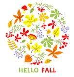 秋天花卉卡片 秋季传染媒介例证 你好秋天 免版税库存照片