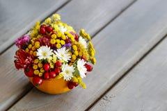 秋天花和植物花束  免版税图库摄影