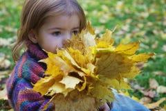 秋天花束女孩留下一点 免版税库存照片