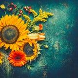 秋天花的布置由向日葵、叶子和canina莓果做成在土气葡萄酒背景,顶视图,文本的地方 库存照片