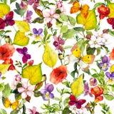 秋天花,蝴蝶 重复花卉样式的Ditsy 水彩 图库摄影