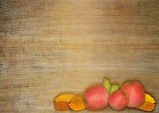 秋天苹果和叶子 免版税图库摄影