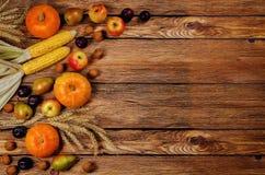 秋天菜和果子木头背景 免版税库存照片