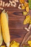 秋天菜的构成在棕色木背景的 库存照片