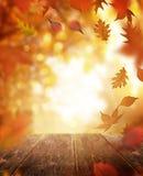 秋天落的叶子和木表 免版税库存图片