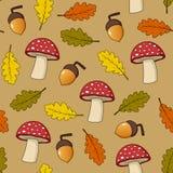 秋天蘑菇无缝的样式 免版税图库摄影
