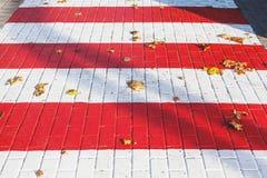 秋天行人穿越道 在路面平板的下落的叶子谎言 库存照片