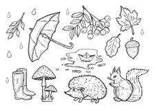 秋天被设置的天气象 免版税库存图片