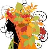 秋天装饰叶子现出轮廓妇女 免版税库存图片