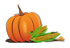 秋天装饰安排了与干燥叶子,南瓜和更多 向量例证