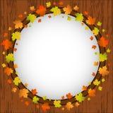 秋天设计五颜六色的槭树叶子框架、花圈,窗口和秋叶在年迈的木背景 库存照片