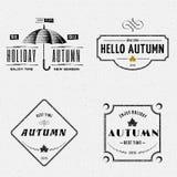 秋天证章商标和标签其中任一的用途 免版税库存图片