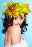 秋天诗歌选的女孩 库存图片
